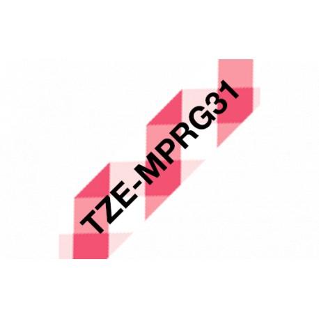 P-touch Tarranauha TZe-MPRG31 musta/punavalkoinen