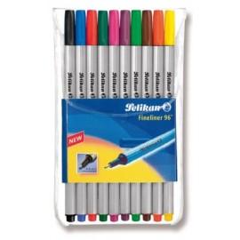 Kuitukärkikynät 10-väriä Pelikan Fineliner 96
