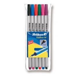 Kuitukärkikynät 6-väriä Pelikan Fineliner 96