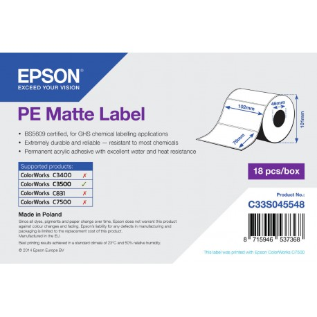 Epson PE Matte Label 102x76mm /ColorWorks