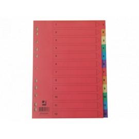 Numerohakemisto 1-12 Kartonki VÄRILLINEN