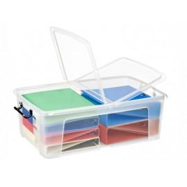 Säilytyslaatikko CEP Strata 50L kannella läpinäkyvä - 100% kierrätettävää polypropeenia