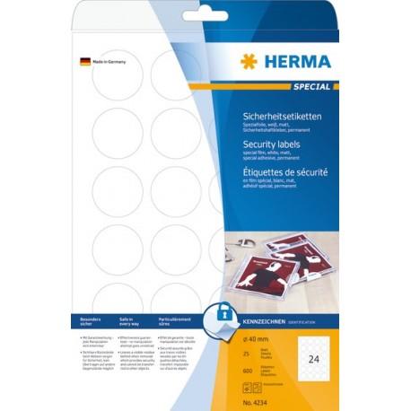 Herma 4234 Turvatarra 40mm Läpinäkyvä - sinettitarra tulostamiseen