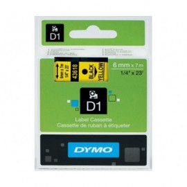 Dymo D1 6 mm musta/keltainen
