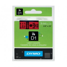 Dymo D1 9 mm musta/punainen 40917
