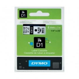 Dymo D1 6 mm musta/valkoinen 43613