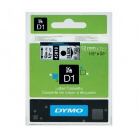 Dymo D1 12 mm musta/kirkas 45010