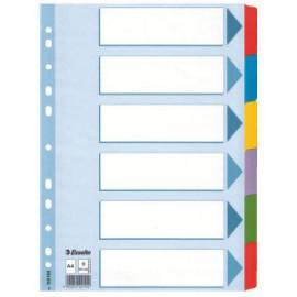 Hakemisto A4 kartonkia 6-os värilliset muovikielekkeet